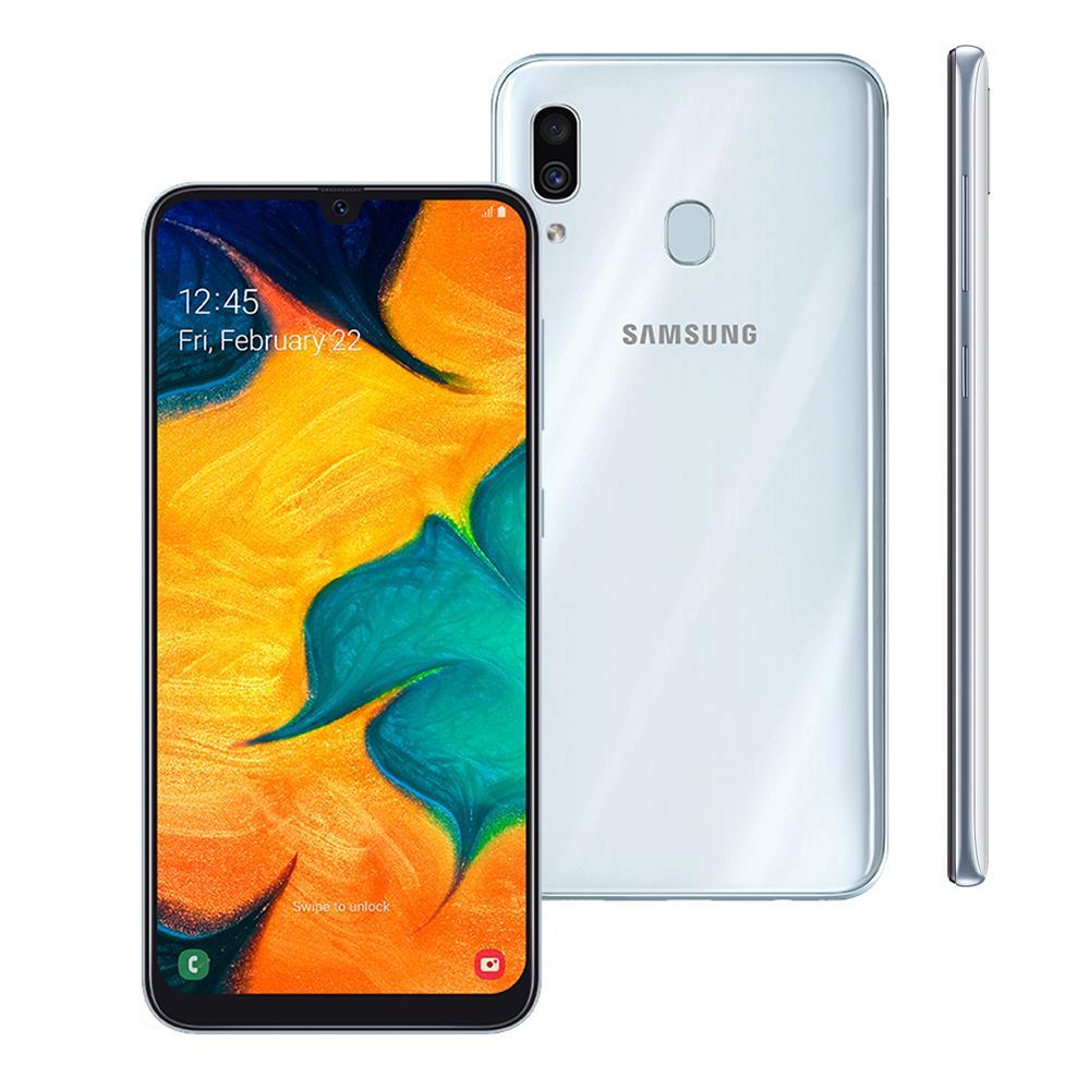 Samsung Galaxy A30 Branco 64GB em Promoção